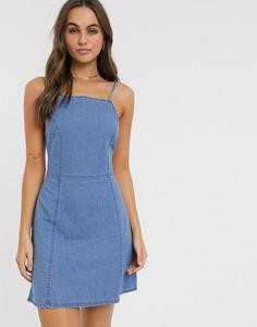 Синее мягкое джинсовое платье-комбинация ASOS DESIGN-Синий
