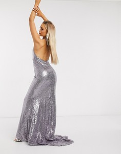 Серебристо-серое платье макси с пайетками и глубоким вырезом Club L London-Фиолетовый