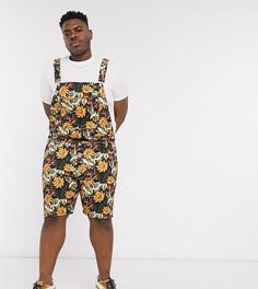 Джинсовый комбинезон-шорты с цветочным принтом ASOS DESIGN Plus-Мульти