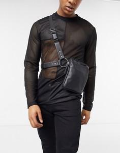 Черная кожаная сумка в стиле сбруи-бандажа ASOS EDITION-Черный