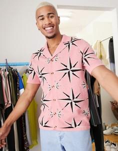 Розовая трикотажная футболка-поло на пуговицах со звездами ASOS DESIGN-Розовый