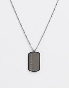 Серебристое ожерелье с подвеской в виде армейского жетона Hugo Boss-Серебряный