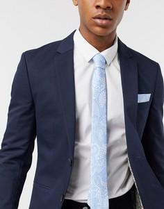 Набор из галстука с цветочным принтом и платка для нагрудного кармана Twisted Tailor-Синий