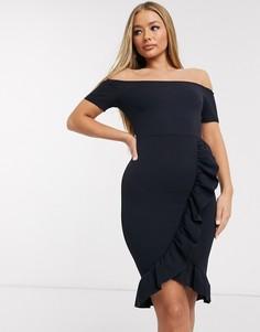 Черное платье с открытыми плечами и запахом AX Paris-Темно-синий
