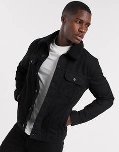 Черная джинсовая куртка с отстегиваемым плюшевым воротником ASOS DESIGN-Черный