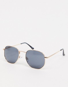 Солнцезащитные очки в многоугольной оправе Selected Homme-Золотой