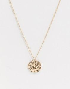 Ожерелье с фактурным диском Vibe and Carter-Золотой