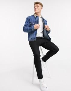 Джинсовая куртка с вельветовым воротником Topman-Синий
