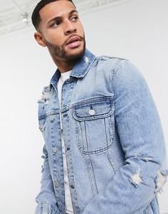 Голубая джинсовая куртка с рваной отделкой ASOS DESIGN-Синий