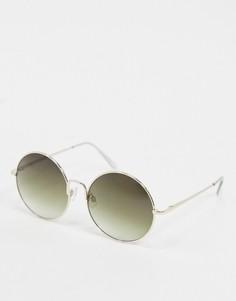 Золотистые солнцезащитные очки в круглой оправе Selected Femme-Золотой