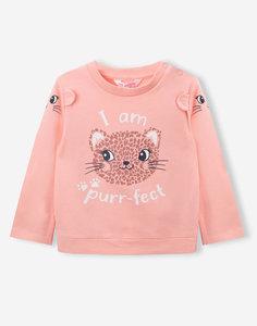 Персиковый свитшот с леопардом для малышки Gloria Jeans