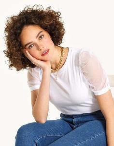 Белая футболка с «фонариками» Gloria Jeans