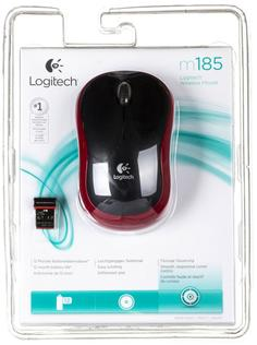 Мышь Logitech Wireless mouse M185 (красный)