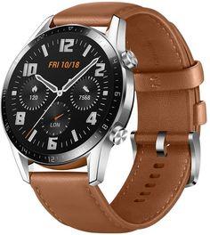 Умные часы Honor Magic Watch 2 с коричневым ремешком (серебристый)