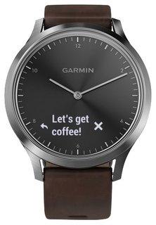 Умные часы Garmin vivomove HR Premium с темно-коричневым кожаным ремешком (серебристый)