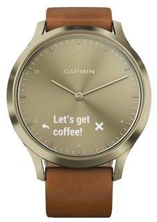 Умные часы Garmin vivomove HR Premium со светло-коричневым кожаным ремешком (золотистый)