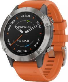 Спортивные часы Garmin fenix 6 SapphireTi Gray w/Orange BandGPSEMEA (010-02158-14)