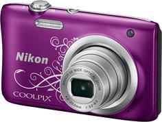 Цифровой фотоаппарат Nikon Coolpix A100 (фиолетовый, с рисунком)