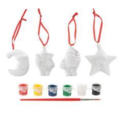 Набор для творчества BONDIBON Ёлочные украшения - месяц, дед мороз, снеговик, звезда (разноцветный)