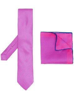 Canali комплект из платка и галстука с геометричным принтом