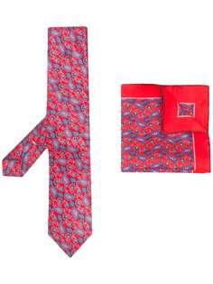 Canali комплект из платка и галстука с принтом пейсли