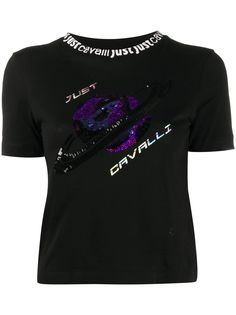 Just Cavalli футболка с вышитым логотипом