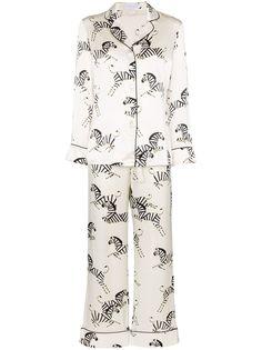 Olivia von Halle пижама Lila с зебровым принтом