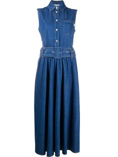 MSGM расклешенное джинсовое платье с поясом