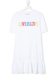 Alberta Ferretti Kids платье с вышивкой Love Is Love