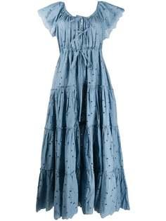 Innika Choo ярусное платье макси