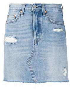 Levis джинсовая юбка с эффектом потертости