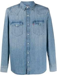 Levis джинсовая рубашка с эффектом потертости