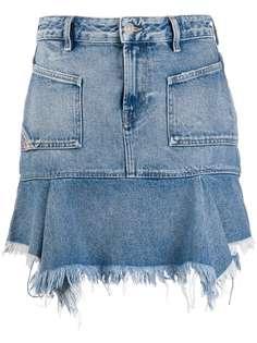 Diesel джинсовая юбка с бахромой