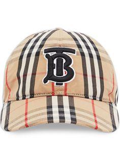 Burberry клетчатая бейсболка с монограммой