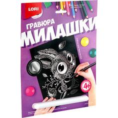 """Гравюра большая Lori """"Зайчонок"""", серия Милашки с эффектом серебра Лори"""