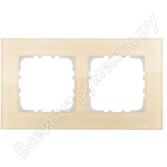 2-постовая рамка lk studio натуральное стекло, цвет кремовый 844217-1