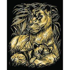 Гравюра Sequin Art «Львы» золото