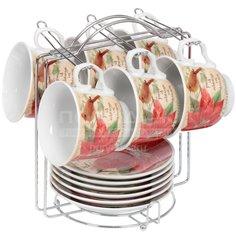 Сервиз чайный из керамики, 12 предметов, Пуансеттия HLS066
