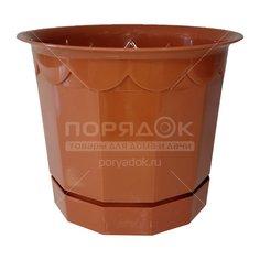 Горшок для цветов пластиковый Полимербыт С166 терракотовый, 3.2 л