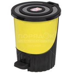 Мусорный контейнер, 8 л, с педалью Dunya Plastik 01061 желтый