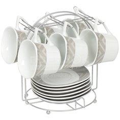 Сервиз чайный из керамики, 12 предметов, на подставке Геометрия SF13-G04 DNN, 180 мл
