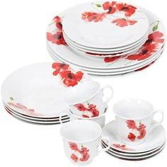 Сервиз столовый из керамики, 20 предметов, Красный мак XC076-HMW8413