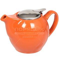 Чайник заварочный керамический, 750 мл, Палитра BRSG 009-O, оранжевый