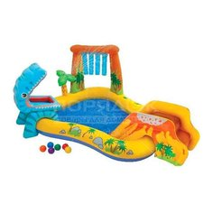 Игровой центр с горкой и распылителем Intex Dinosaur 57444, 250х191х110 см
