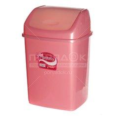 Мусорный контейнер, 18 л, с подвесной крышкой Dunya Plastik Slim 09403 розовый