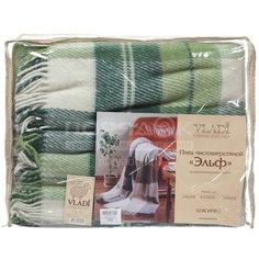 Плед Vladi двуспальный (170х210 см) шерсть 70%, Эльф 2 53024 белый, салатовый, зеленый
