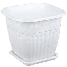 Горшок для цветов пластиковый Альтернатива М1618 Лозанна белый, 5 л Alternativa