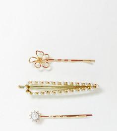 3 заколки для волос с цветком и искусственным жемчугом Pieces Magot-Золотой