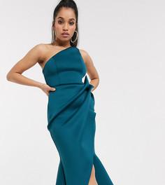 Сине-зеленое платье-футляр миди на одно плечо с юбкой годе ASOS DESIGN Petite-Синий