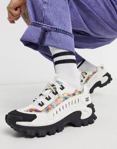 Белые кроссовки на массивной подошве с принтом Caterpillar-Белый